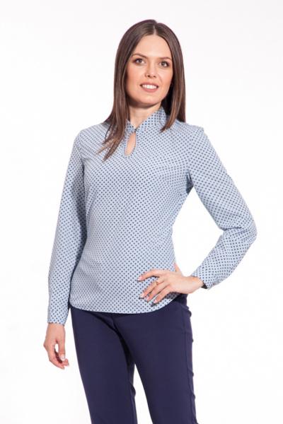 """Блуза голубая с принтом """"звезды"""", Б-158/4"""